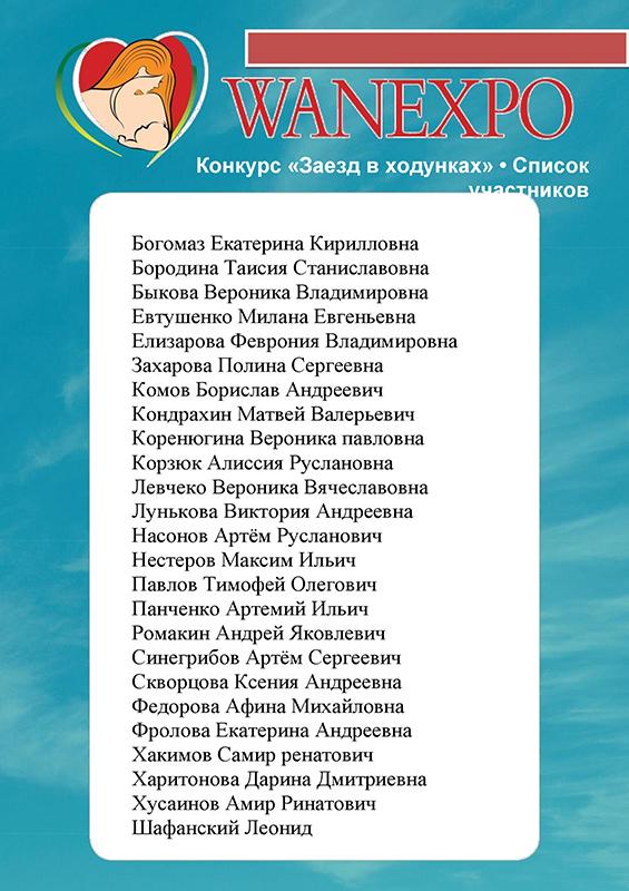 Списки участников конкурсов WANEXPO